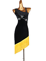 cheap -Latin Dance Dresses Women's Training Pleuche Tassel / Crystals / Rhinestones Sleeveless High Dress