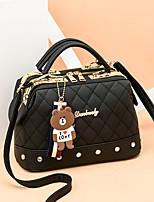 cheap -Women's Bear / Zipper PU Top Handle Bag Solid Color Black / Gray Green / White