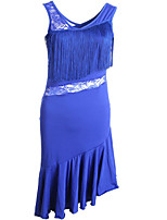 cheap -Latin Dance Dresses Women's Training / Performance Polyester / Cotton Blend / Milk Fiber Lace / Ruching / Tassel Sleeveless Natural Dress