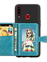 cheap -Case For Samsung Galaxy A5(2018) / A6 (2018) / A6+ (2018) Card Holder / with Stand / Ultra-thin Back Cover Solid Colored PU Leather / TPU