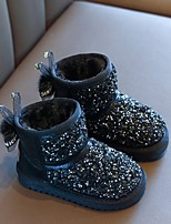cheap -Girls' Snow Boots Pigskin Boots Little Kids(4-7ys) Black / Silver / Pink Winter / Mid-Calf Boots