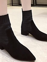 cheap -Women's Boots Low Heel Pointed Toe Synthetics Mid-Calf Boots Fall & Winter Black