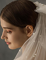cheap -Two-tier Classic Style / Lace Wedding Veil Shoulder Veils with Solid / Pattern POLY / Lace