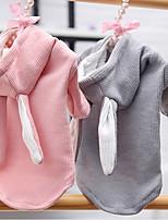 cheap -Dog Hoodie Rabbit Winter Dog Clothes Pink Gray Costume Corduroy Rabbit / Bunny Cosplay XS S M L XL XXL