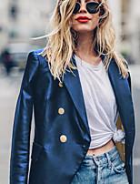 abordables -Femme Sortie / Travail Blazer, Couleur Pleine Col de Chemise Manches Longues Polyuréthane Noir / Vin / Bleu / Ample