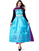 cheap -Princess Anna Dress Masquerade Women's Movie Cosplay Cosplay Halloween Blue Dress Cloak Halloween Carnival Masquerade Polyester