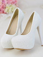 cheap -Women's Wedding Shoes Stiletto Heel Round Toe Pearl PU Fall & Winter White / Party & Evening