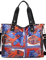 cheap -Women's Zipper Oxford Cloth Top Handle Bag Floral Print Black / Red / Rainbow