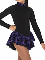 cheap -Figure Skating Dress Women's Girls' Ice Skating Dress Black Patchwork Spandex High Elasticity Training Competition Skating Wear Patchwork Crystal / Rhinestone Long Sleeve Ice Skating Figure Skating
