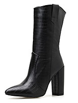 cheap -Women's Boots Chunky Heel Pointed Toe PU Mid-Calf Boots Fall & Winter Black