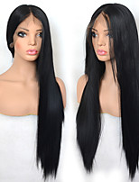 cheap -Synthetic Lace Front Wig Straight with Baby Hair Lace Front Wig Very Long Black#1B Synthetic Hair 22-26 inch Women's Cosplay Synthetic Easy dressing Black