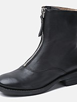 cheap -Women's Boots Low Heel Round Toe Nappa Leather Fall Black / Brown
