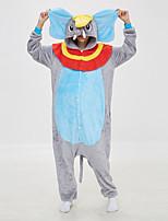 abordables -Adulte Pyjamas Kigurumi Eléphant Combinaison de Pyjamas Molleton Bleu Cosplay Pour Homme et Femme Pyjamas Animale Dessin animé Fête / Célébration Les costumes / Collant / Combinaison