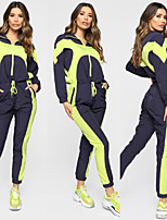 cheap -Women's Patchwork Jumpsuit 1 set Stand Running Fitness Jogging Windproof Breathable Soft Sportswear Athletic Clothing Set Long Sleeve Activewear Micro-elastic Regular Fit
