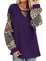 abordables -Tee-shirt Femme, Fleur Mosaïque / Imprimé Basique Noir