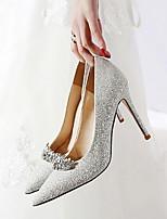 cheap -Women's Wedding Shoes Stiletto Heel Pointed Toe PU Fall & Winter Silver