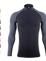 cheap -Men's Patchwork Compression Shirt Running Shirt Running Base Layer Stand Running Fitness Jogging Windproof Breathable Quick Dry Sportswear Tee / T-shirt Long Sleeve Activewear Micro-elastic