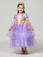 cheap -Belle Rapunzel Dress Masquerade Flower Girl Dress Girls' Movie Cosplay A-Line Slip Cosplay Halloween Purple / Yellow Dress Halloween Carnival Masquerade Tulle Polyster