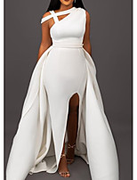 cheap -A-Line One Shoulder Sweep / Brush Train Satin Formal Evening Dress with Split Front by LAN TING Express