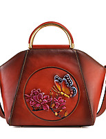 cheap -Women's Embossed Nappa Leather Top Handle Bag Floral Print Black / Yellow / Red