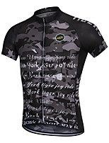 cheap -YORK TIGERS Men's Short Sleeve Cycling Jersey Silicone Elastane Terylene Black Camo / Camouflage Bike Jersey Top Mountain Bike MTB Road Bike Cycling Breathable Quick Dry Reflective Strips Sports