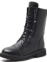 cheap -Women's Boots Low Heel Round Toe Synthetics Mid-Calf Boots Classic / Vintage Winter / Fall & Winter Black / Brown