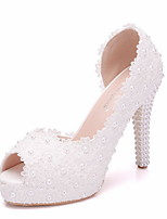 cheap -Women's Wedding Shoes Stiletto Heel Peep Toe PU Spring & Summer White