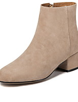 cheap -Women's Boots Chunky Heel Round Toe Suede Booties / Ankle Boots Winter Black / Brown / Almond