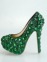 cheap -Women's Heels Stiletto Heel Round Toe Rhinestone / Crystal PU Vintage / Minimalism Fall & Winter Fuchsia / Green / Red / Wedding / Party & Evening