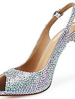 cheap -Women's Heels Stiletto Heel Peep Toe Rhinestone Cowhide British / Minimalism Summer / Spring & Summer Silver / Wedding