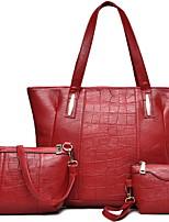 cheap -Women's PU Bag Set Solid Color 3 Pcs Purse Set Black / Blue / Red