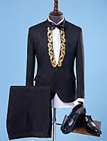 abordables -Noir / Blanche / Couleur Rubis Avec motifs Coupe Sur-Mesure Polyester Costume - Col Châle Droit 1 bouton / costumes