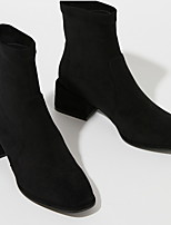 cheap -Women's Boots Low Heel Round Toe Suede Booties / Ankle Boots Winter Black
