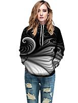 cheap -Women's Active / Street chic Hoodie - Geometric / Color Block / 3D Black L