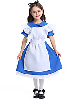 cheap -Maid Costume Dress Masquerade Flower Girl Dress Girls' Movie Cosplay A-Line Slip Cosplay Halloween Blue Dress Apron Headwear Halloween Carnival Masquerade Polyester