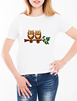 cheap -Women's Daily Going out Basic T-shirt - Animal / Cartoon / Letter Print White