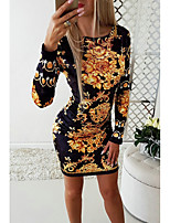 cheap -Women's Daily Wear Basic Sheath Dress - Geometric Print Black S M L XL
