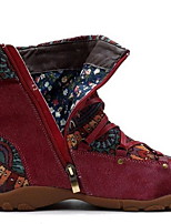 cheap -Women's Boots Flat Heel Round Toe Suede Booties / Ankle Boots Winter Brown / Green / Red