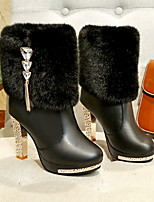 cheap -Women's Boots Chunky Heel Round Toe PU Mid-Calf Boots Fall & Winter Black / White
