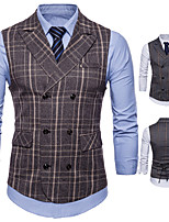 cheap -James Bond Gentleman Vintage Double Breasted Waistcoat Men's Slim Fit Cotton Costume Gray / Coffee Vintage Cosplay Party Halloween / Vest