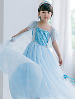 cheap -Elsa Dress Masquerade Flower Girl Dress Girls' Movie Cosplay A-Line Slip Cosplay Halloween Light Purple / Pink / Light Blue Dress Halloween Carnival Masquerade Tulle Cotton