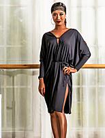 abordables -Danse latine Robes Femme Utilisation Spandex Ruché Manches Longues Robe