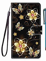 cheap -Case For Samsung Galaxy S10 / S10 Plus / S10 E Wallet / Card Holder / with Stand Golden Butterfly PU Leather / TPU for A10s / A20s / A50(2019) / A70(2019) / A90(2019) / Note 10 Plus / J6 Plus(2018)