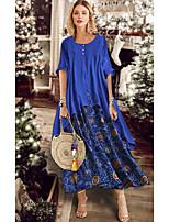 cheap -Women's Date Street Boho Swing Dress - Geometric Sun Flower, Print Blue Red Brown M L XL XXL