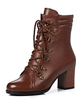 cheap -Women's Boots Chunky Heel Round Toe PU Booties / Ankle Boots Fall & Winter Black / Brown