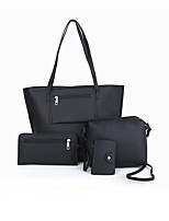 cheap -Women's Zipper PU Bag Set Solid Color 4 Pieces Purse Set Black / Brown / Blushing Pink