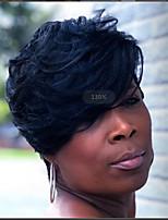 cheap -Human Hair Wig Short Straight Natural Straight Bob Pixie Cut Layered Haircut Asymmetrical Black Cool Comfortable Natural Hairline Capless All Unisex Natural Black 8 inch / African American Wig