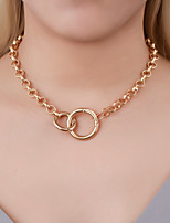 cheap -Women's Choker Necklace Necklace Chrome White Gold 39.5 cm Necklace Jewelry For Graduation Engagement Street Club Festival