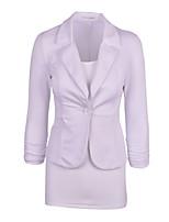 abordables -Femme Blazer, Couleur Pleine Col en V Coton Noir / Vin / Blanche