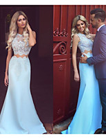 cheap -Mermaid / Trumpet Jewel Neck Sweep / Brush Train Satin Two Piece / Elegant Prom / Formal Evening Dress 2020 with Appliques by JUDY&JULIA